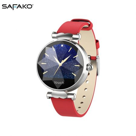 Safako SB8010 silver Smartwatch red strap